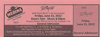 06-15-12 Ted Nugent/Laura Wilde @ Medina Ent. Ctr., Medina, MN (Ticket)