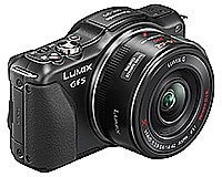 When powered off, the Panasonic LUMIX DMC-GF5X is compact enough to fit in the trousers pocket.