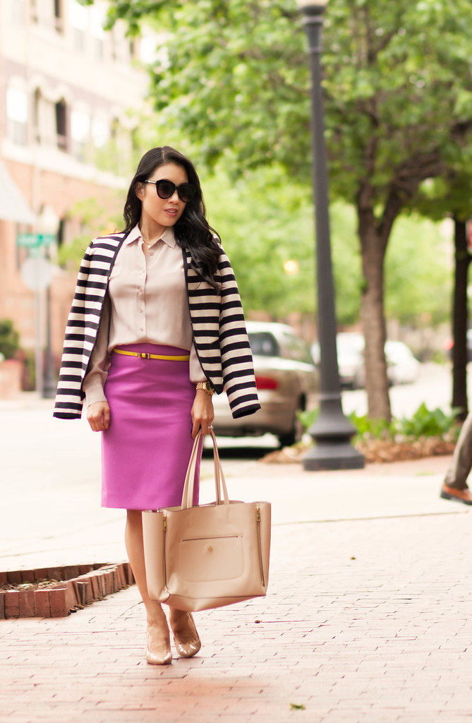 cute & little blog | petite fashion | everlane silk point collar shirt, radiant orchid pencil skirt, yellow bow belt, striped blazer | spring outfit