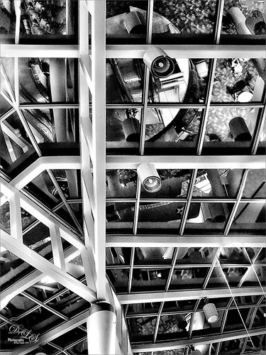 Image of reflections in the Daytona Beach Airport ceiling.