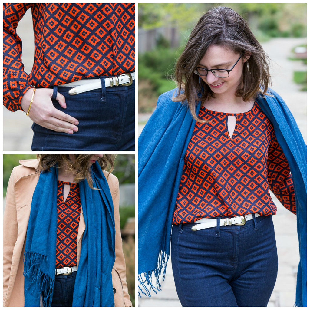 diamond pattern, seventies, flare jeans, retro outfit, white belt, orange shirt, blogger outfit,