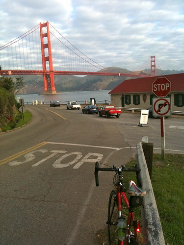 Timbuk2 CEO Mike Wallenfel's bike at the GG Bridge approach