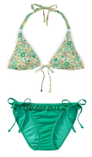 Mix and match green and floral bikini swimsuit