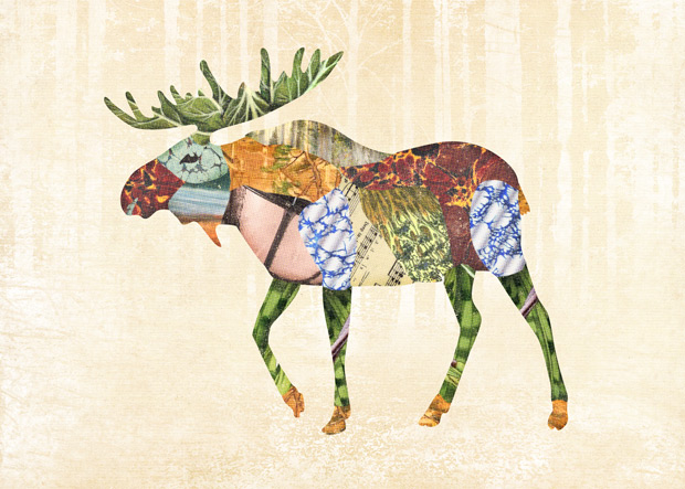 Gerren Lamson collage woodland creatures moose