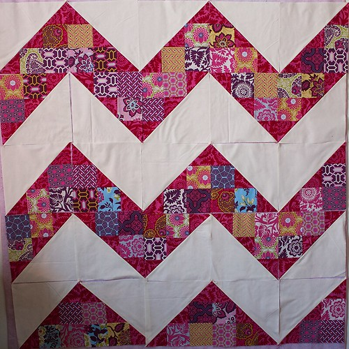 Patchwork Chevron blocks in progress