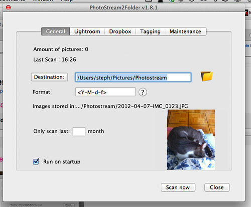 PhotoStream2Folder General Settings