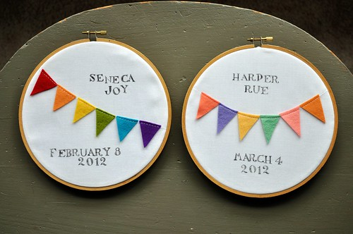 birth announcement embroidery hoops