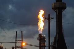 gas flare, evening, light, street light, electricity, fire, night, lighting,