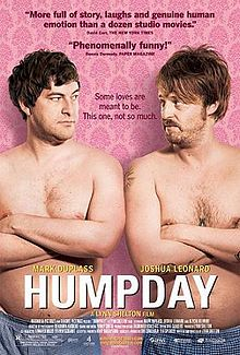 """Humpday"" movie posted. Two shirtless men wearing blue boxers face each other, arms folded. They stand in front of a pink background."