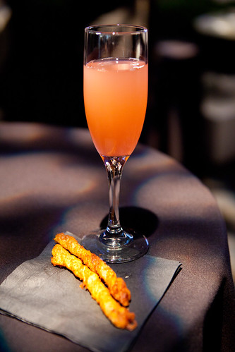 My black raspberry cocktail made with Effen Vodka and spiced cheese sticks