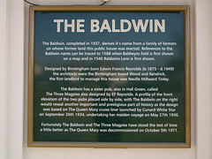 Photo of The Baldwin, Hall Green and Edwin Francis Reynolds black plaque