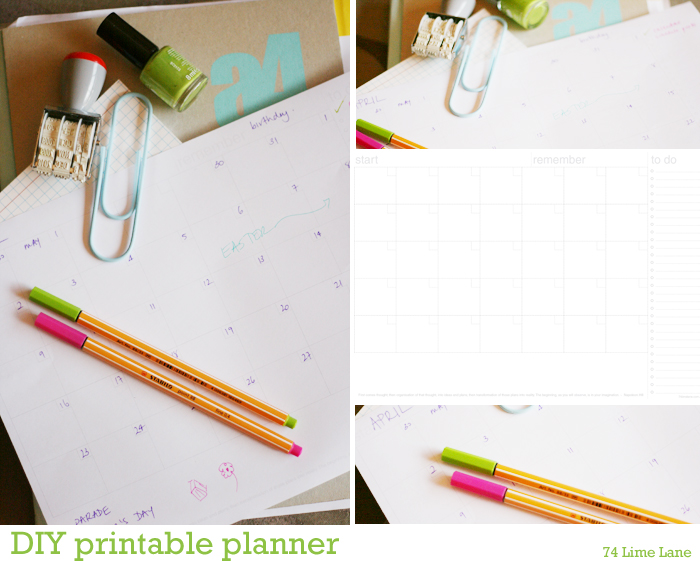 74 Lime Lane - DIY printable planner