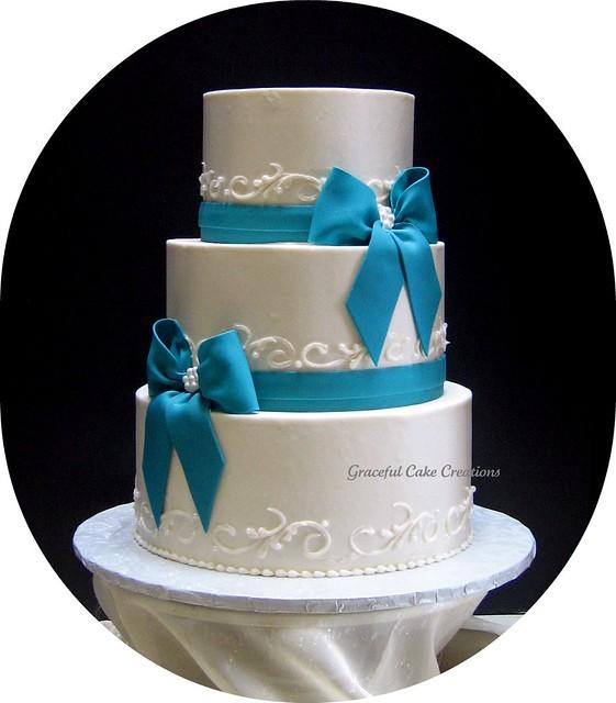 Elegant Ivory and Teal Wedding Cake | Flickr - Photo Sharing!