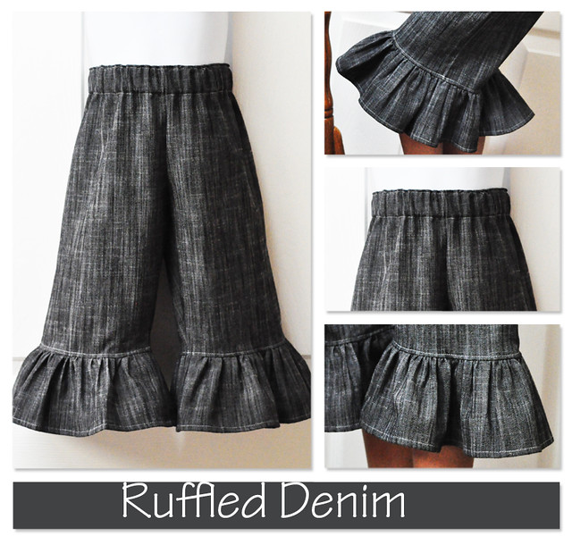 ruffled denim collage
