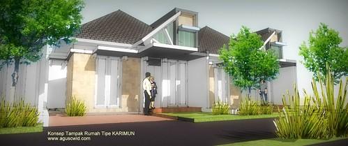 Konsep 3D Desain rumah tipe KARIMUN