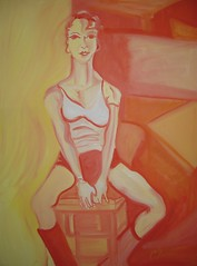 Ruth in Warm Colors, a painting of a woman sitting on a stool