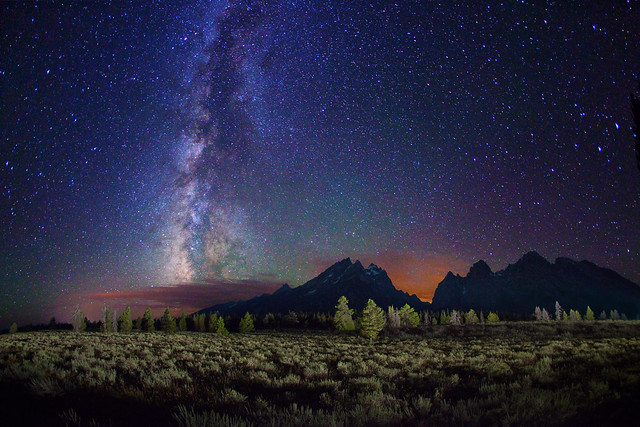 Starry night over Grand Teton Range