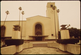 Exterior of the Los Angeles Union Passenger Terminal, built for the 1932 Summer Olympics held in that California city, May 1974