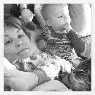 Late AM snuggles with my sicky and Gus.