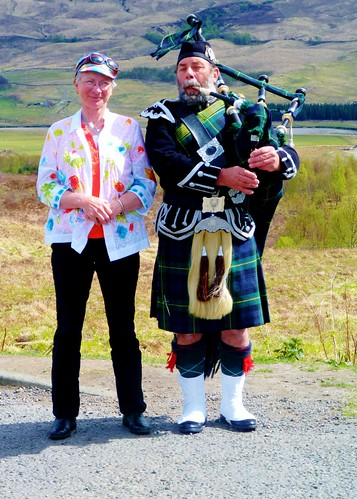 Ancestry tour guest with piper