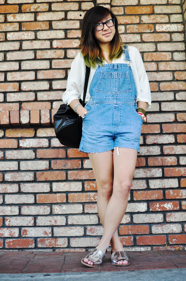 hrifted GAP overalls, gifted Brandy Melville white blouse, Marni for H&M sandals, thrifted one shoulder leather bag, Ray-Ban glasses, {arm party via H&M, Korea, F21, Urban Outfitter's bag strap}