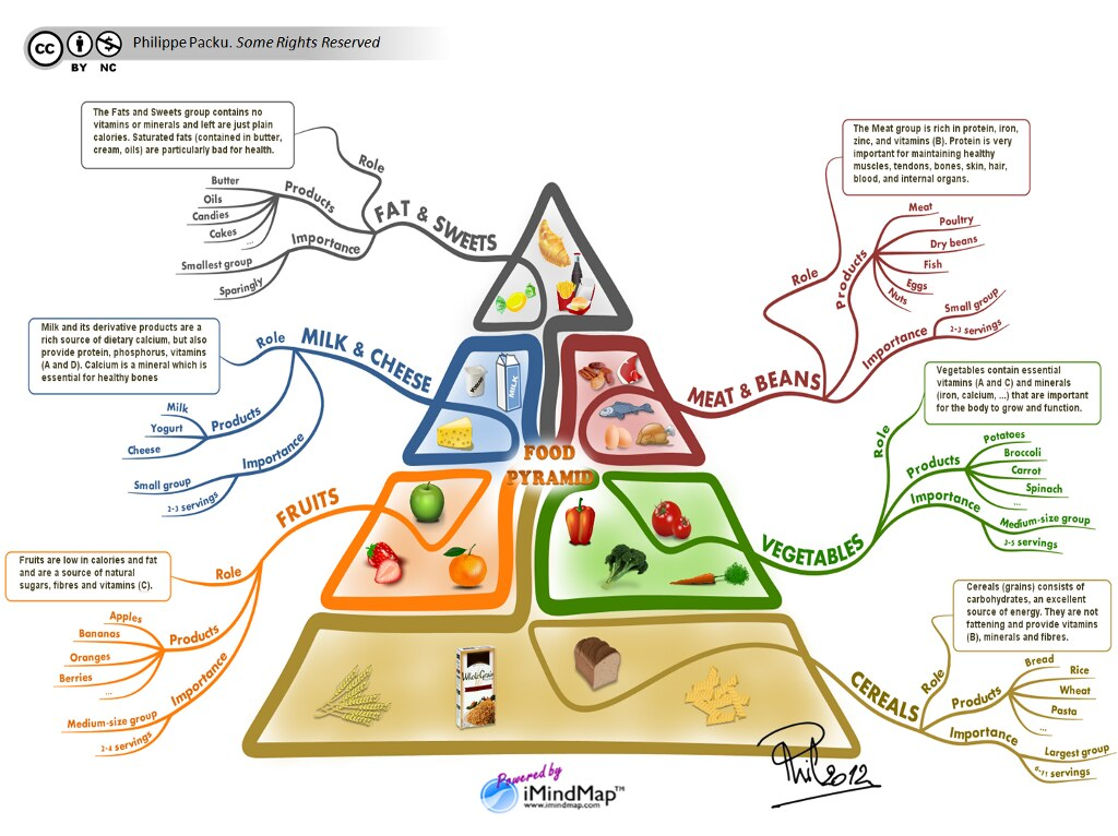 The food pyramid revisited with a creative mind map by Philippe Packu