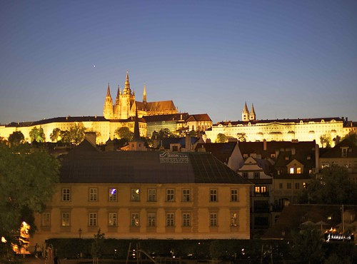 Prague at night - Prague Castle and St. Vitus Cathedral. by talalbakr25