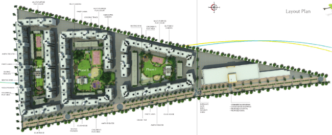 Layout Plan of Kanchan Vrundavan, 1 BHK & 2 BHK Flats at Koregaon Mul, near Uruli Kanchan Pune 412 202