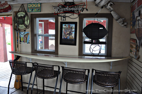 Surfboard Seating Area at Tally's Dockside ~ White Bear Lake, MN