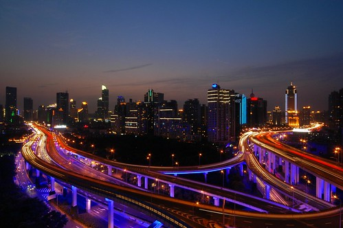 Shanghai - Blue Roads at the Blue Hour