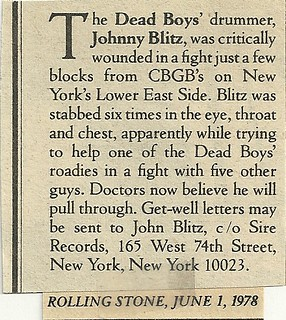 06-01-78 Rolling Stone Magazine (Johnny Blitz Benefit at CBGB)