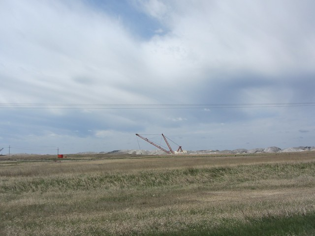 Cranes digging for coal south of Estevan Saskatchewan