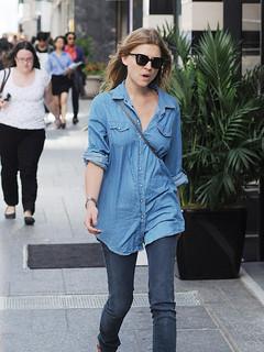 Clemence Posey Denim Shirt Celebrity Style Woman's Fashion