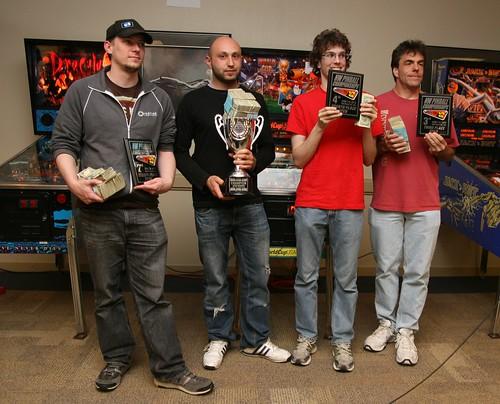 NW Pinball Championship winners (left to right): Cayle, Daniele, Robert, Lyman