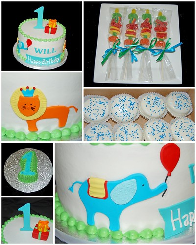 1st birthday animal parade themed cake and sweets