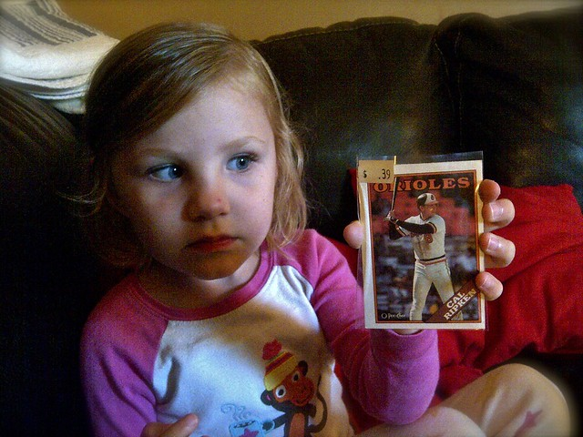 Zoey's first baseball card - Cal Ripken