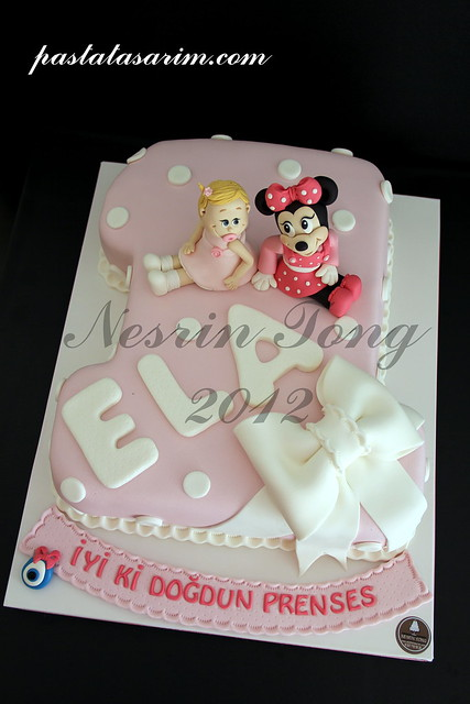1st birthday cake - ela and minie