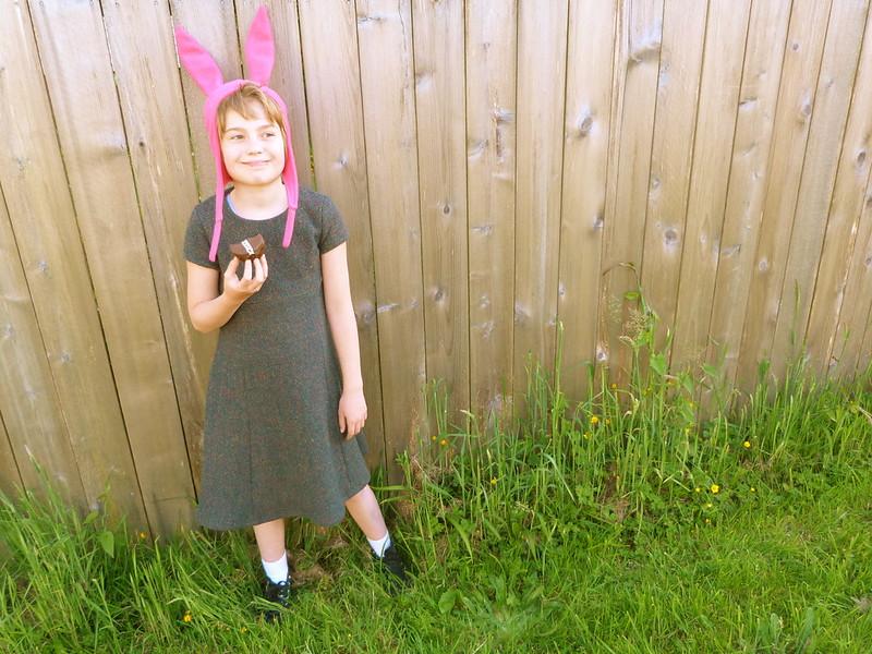 Green Dress & Pink Hat