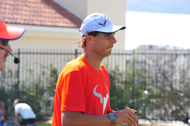 Rafa preparing to face his fans.