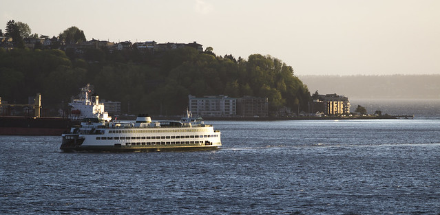 Washington State Ferry and West Seattle as viewed from Steinbrueck Park, Seattle