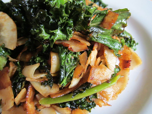cooked coconut kale