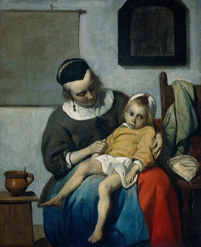 Gabriel Metsu - The Sick Child [c.1660-65] by Gandalf's Gallery