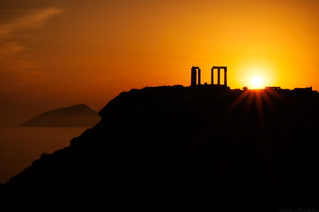 sounion sunset silhouette