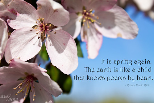 """""""It is spring again. The earth is like a child that knows poems by heart."""" -- Rainer Maria Rilke"""