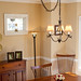 Dining room with hanging lamp