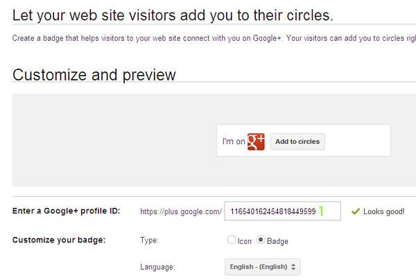 Bina butang sosial Google+ profile