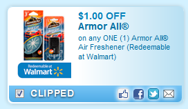 Armor All Air Freshener (redeemable At Walmart)  Coupon