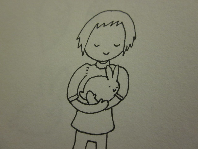 Drawing of me holding a bunny.