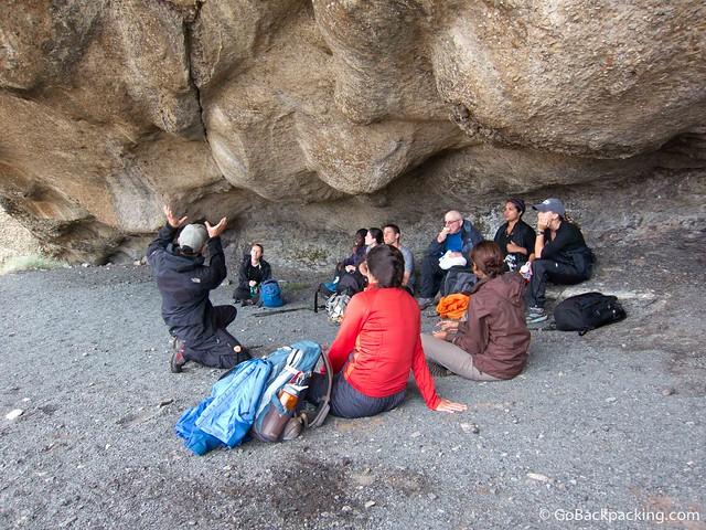 Christian telling us about some cave paintings in Torres del Paine National Park