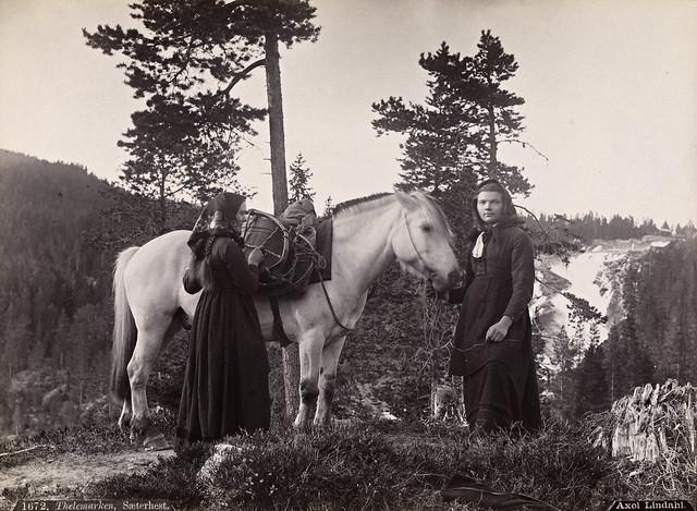 Jenter fra Telemark i Sør-Norge 1880-1890. Girls in Telemark in Southern Norway.